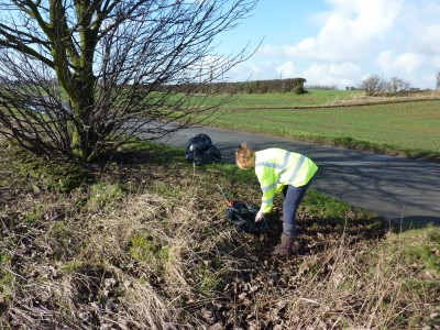 6 Appleby Litter Pick Feb 12 Risby Road again - me hard at work! (2)