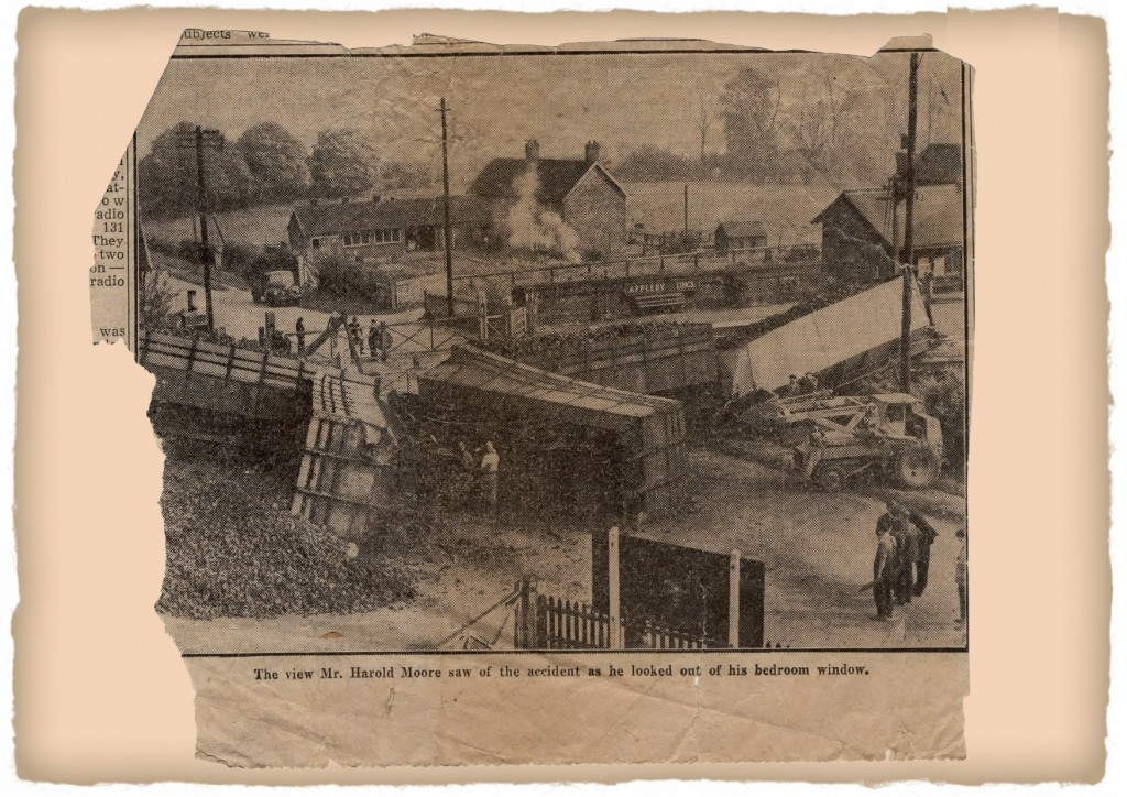 Train crash, newspaper clipping